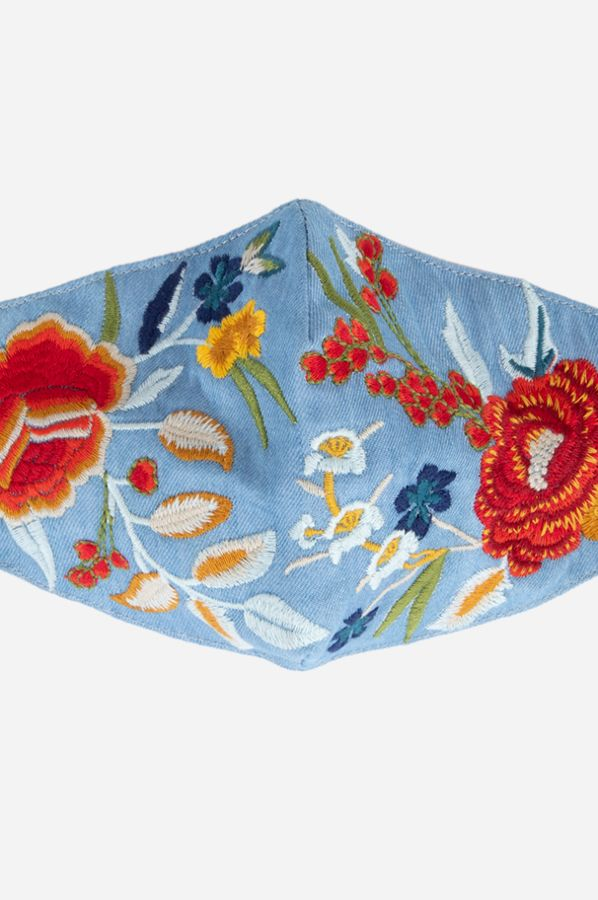 Poppies Chambray Embroidered Mask