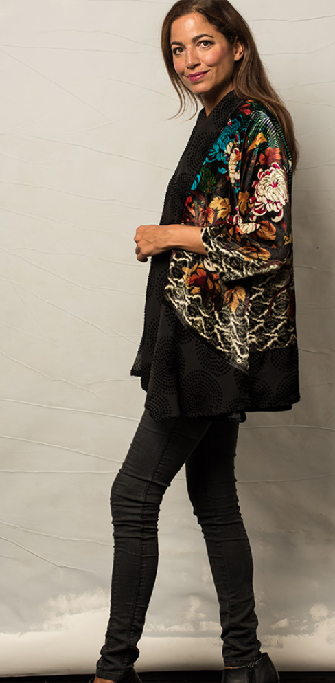 Silk Tibetan Floral Shawl Short Jacket