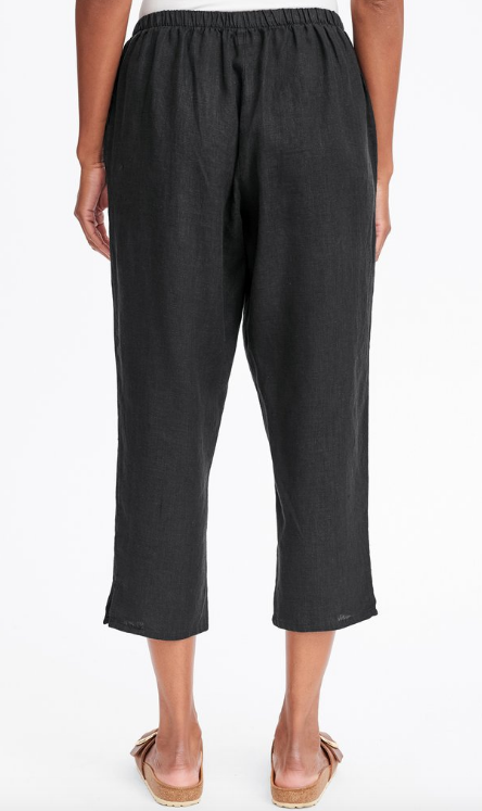 Black Linen Taper Ankle Pant