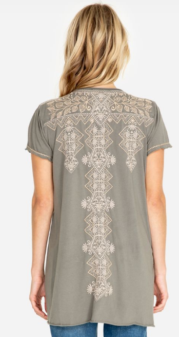 Tonal Embroidered Shaped Tee