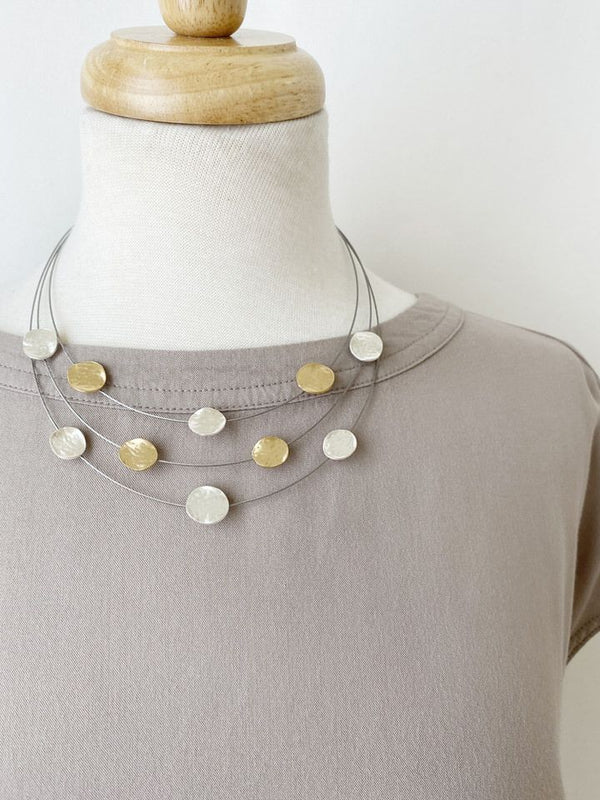 Silver/Gold Disc Floating Necklace