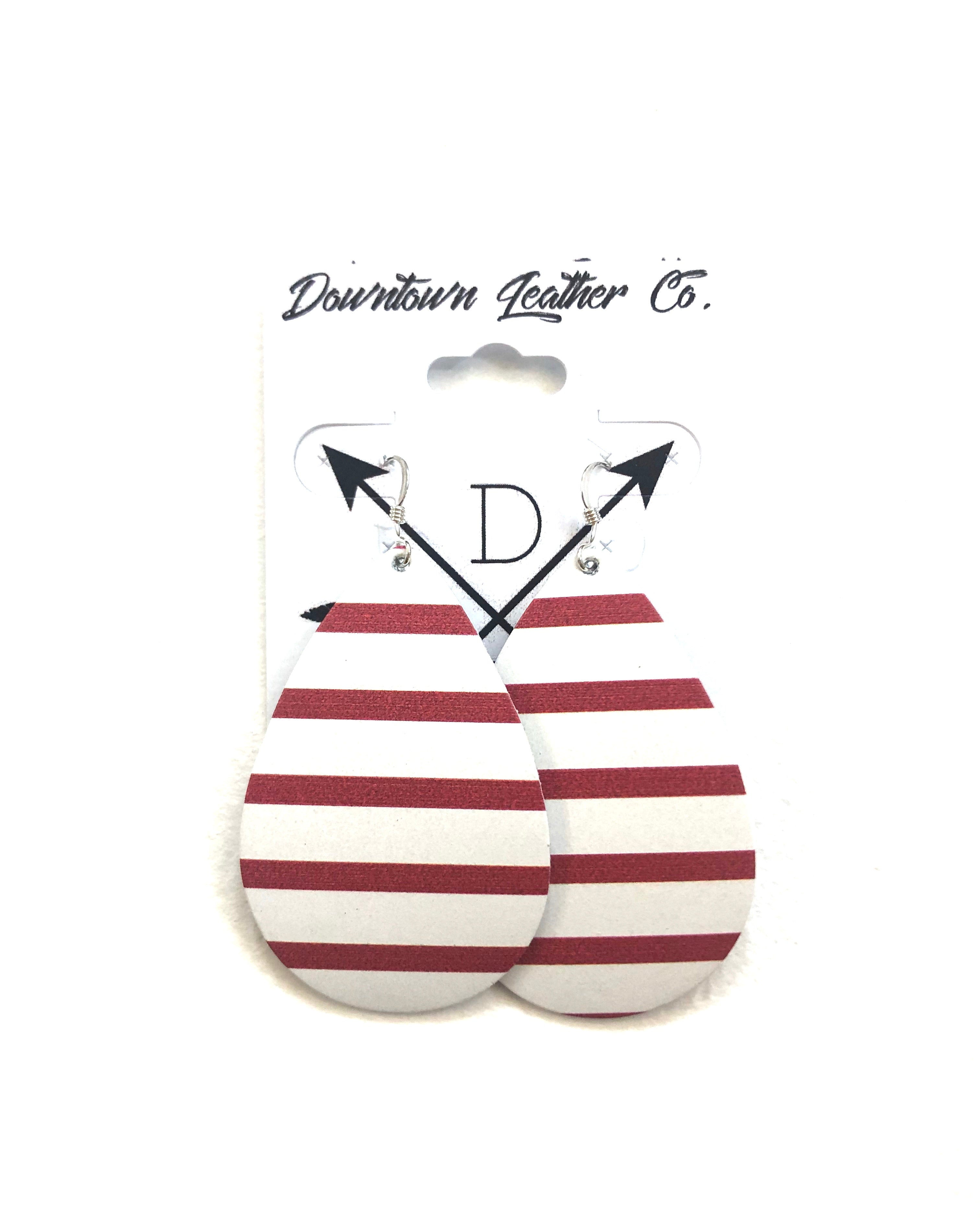 Red & White Striped Leather