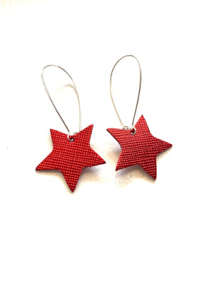 Little Stars Red Metallic Saffiano Leather