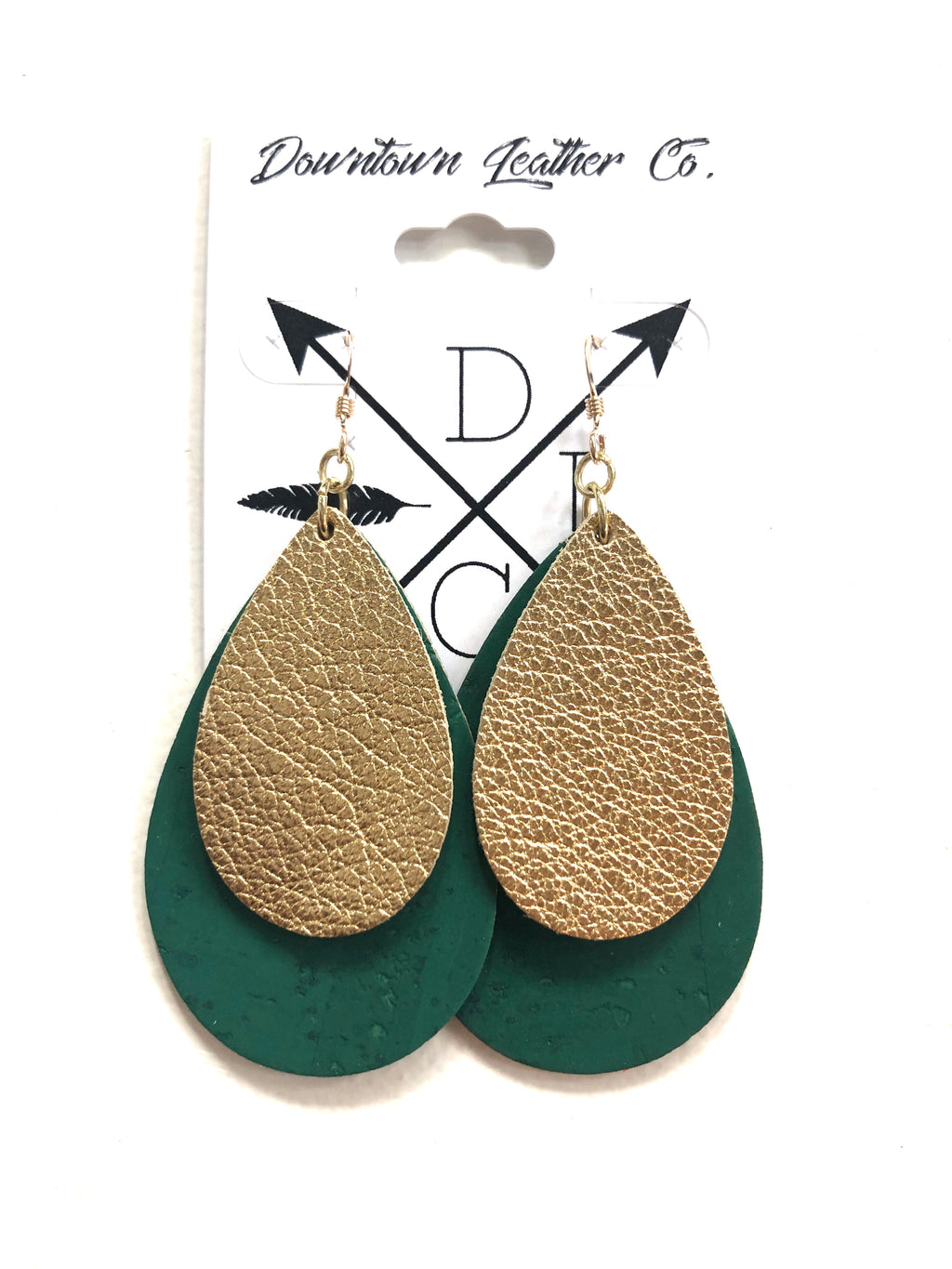 Double Down Metallic Gold Leather over Emerald City Cork