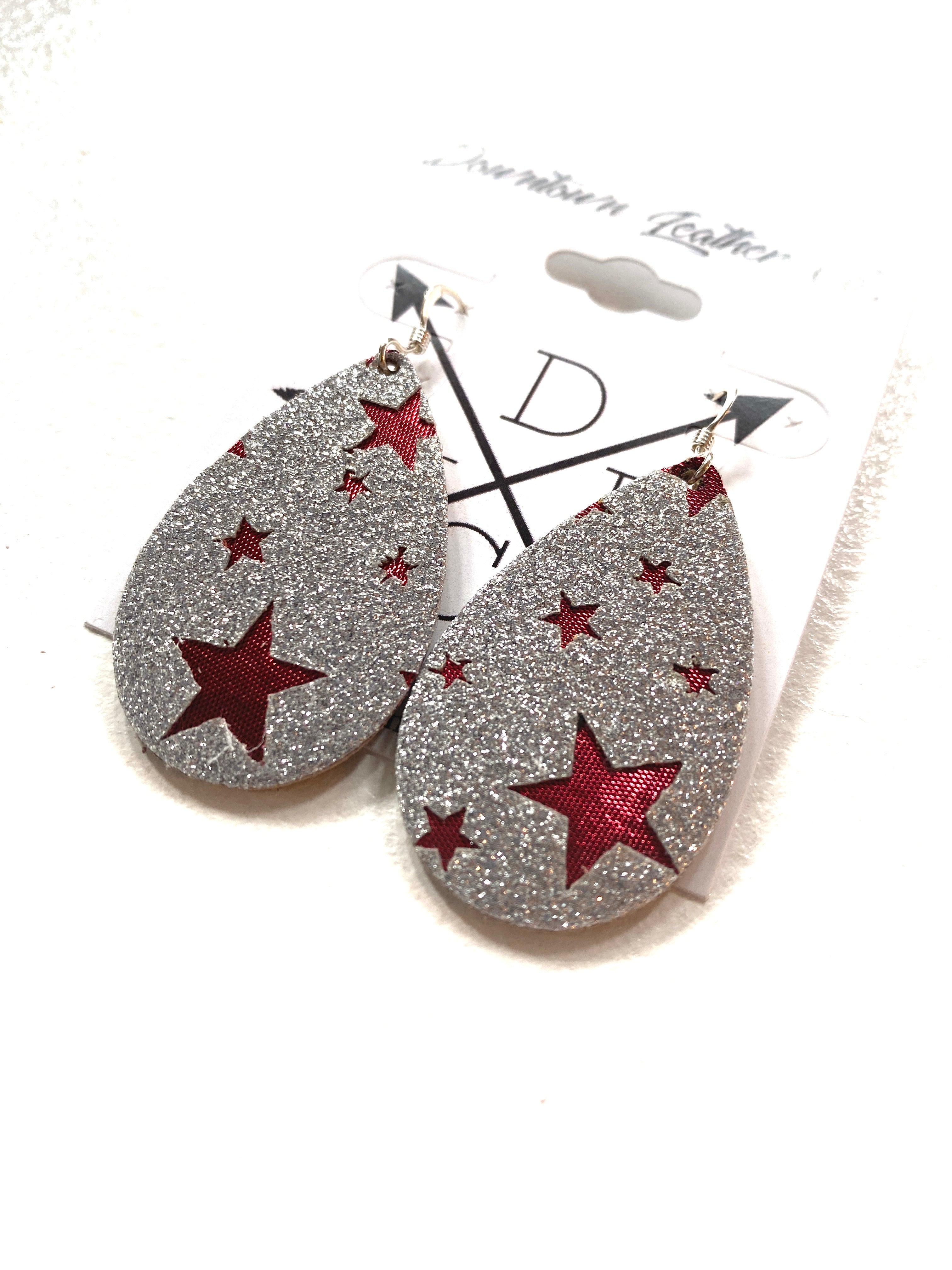 Baby Tear Silver Glitter with Red Stars