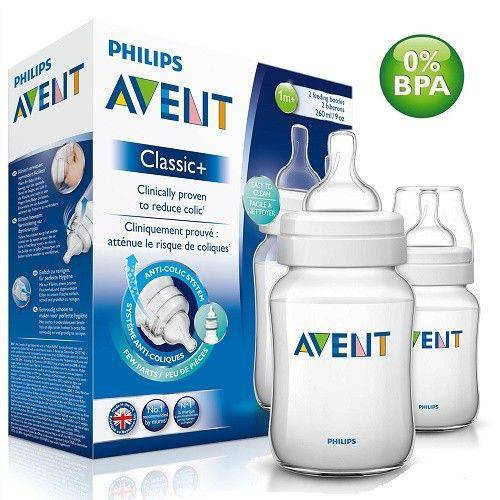 Mamadeira Clássica Pack Duplo PP 260ml - Avent - (1M+)