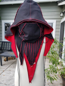 Larp medieval fantasy hood - black and red - Post apocalyptic fashion - Burning Man - Wasteland - Apocalypse - Gothic hood