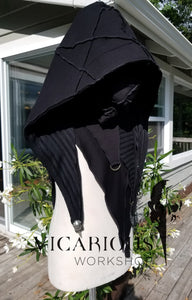 Black hooded medieval shoulder cloak