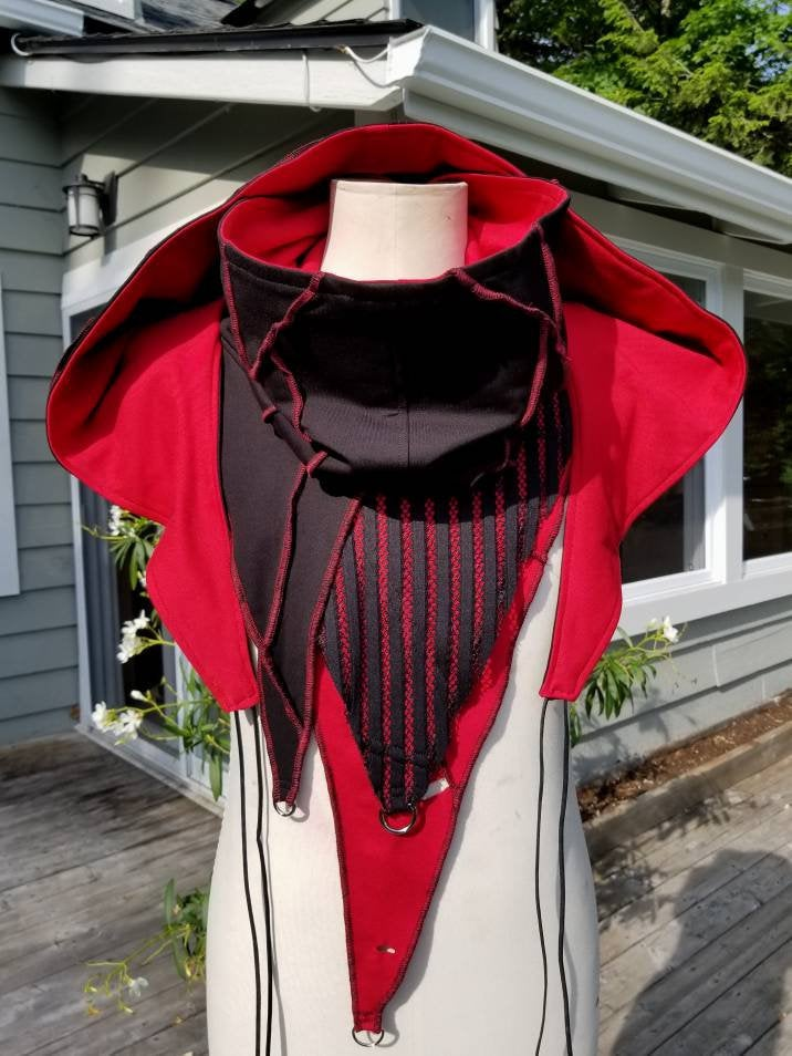 Cosplay Larp medieval fantasy hood - black and red - Post apocalyptic fashion - Burning Man - Wasteland - Apocalypse