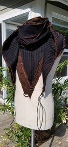 Cosplay Larp medieval fantasy hood - Black and Brown - Post apocalypse fashion - Burning Man - Wasteland