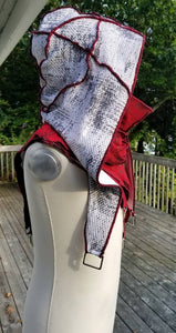 Hooded shoulder cloak, White Red and Black hooded LARP shoulder cape, Medieval hooded cape