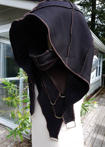 Cosplay Larp medieval fantasy hood, Black and Brown, Post apocalypse fashion, Burning Man clothing, Wasteland, cloak with hood, hooded cloak