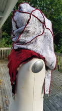 Charger l'image dans la galerie, Hooded shoulder cloak, White Red and Black hooded LARP shoulder cape, Medieval hooded cape