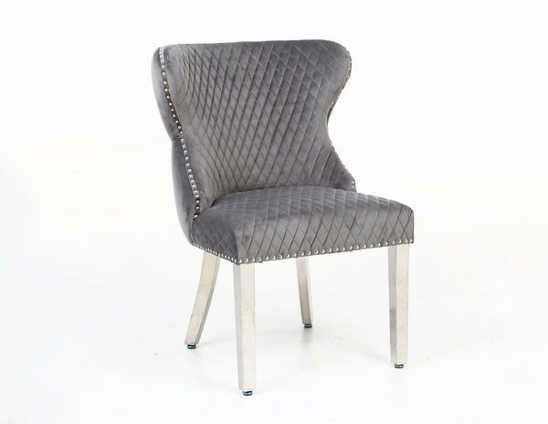 Valentino Silver Grey Quilted Velvet Chrome Leg Lion Knockerback Dining Chair - AR Furnishings - Specialists In Bringing Luxury Into Your Home.