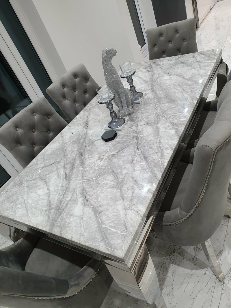 Louis 200cm Grey Marble Dining Table + Knightsbridge Dark Grey Knocker Plush Velvet Chairs