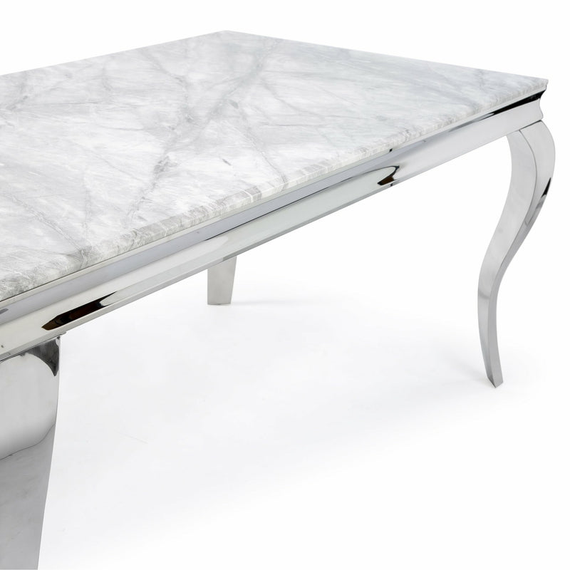 Louis Grey Marble 150CM Dining Table, Grey Lion Chairs & Bench Option
