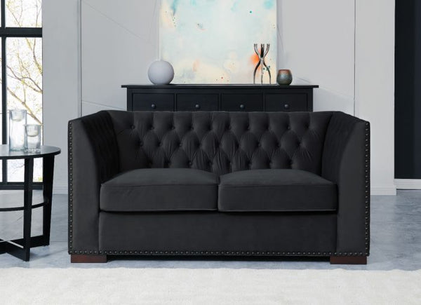 Chester 2 Seater Sofa Black - AR Furnishings - Specialists In Bringing Luxury Into Your Home.