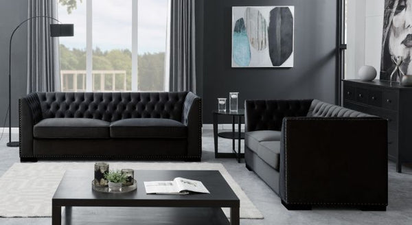 Chester 3 Seater Sofa Black - AR Furnishings - Specialists In Bringing Luxury Into Your Home.