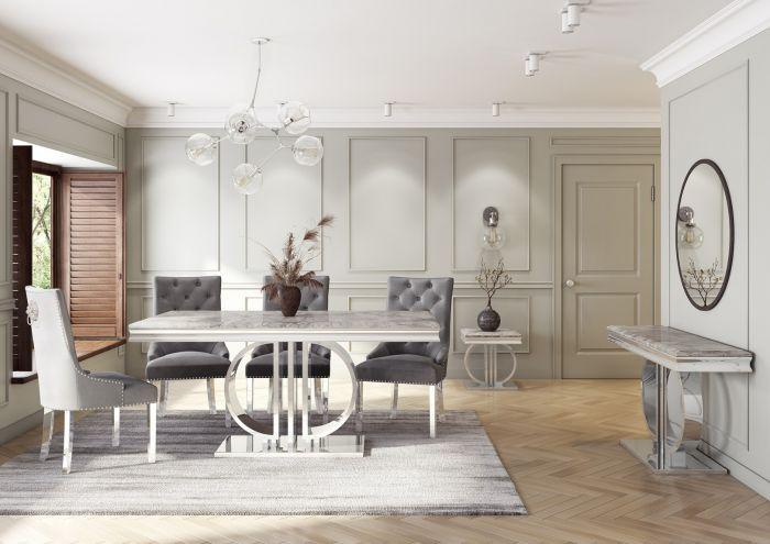 Donatello 200cm Grey Marble Dining Table - AR Furnishings - Specialists In Bringing Luxury Into Your Home.