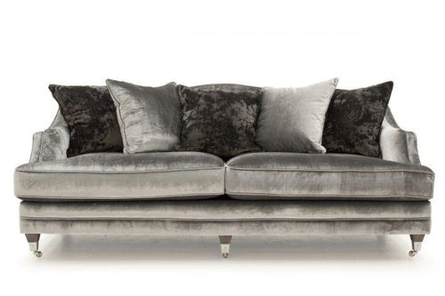 Belvedere 4 Seater Fabric Sofa with 5 Scatter Cushions - Pewter - ImagineX Furniture & Interiors