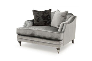 Belvedere Fabric Snuggler with 2 Scatter Cushions - Pewter - ImagineX Furniture & Interiors