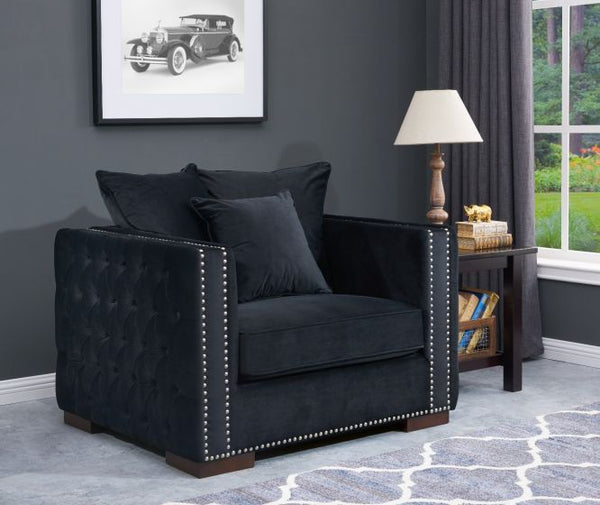 Moscow Chair - Black Plush Velvet - AR Furnishings - Specialists In Bringing Luxury Into Your Home.