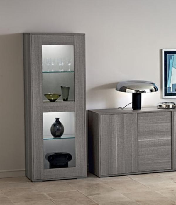 Futura Day Grey Sawmarked Italian Oak 1 Door Display Cabinet - AR Furnishings - Specialists In Bringing Luxury Into Your Home.