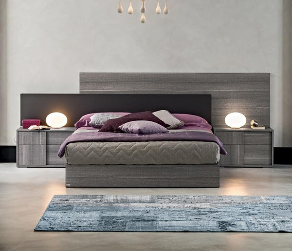 Futura Night Grey Sawmarked Italian Oak Bed Frame - AR Furnishings - Specialists In Bringing Luxury Into Your Home.