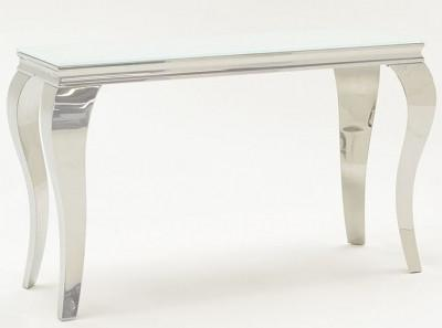 Louis 120cm White Tempered Glass Console Table - AR Furnishings - Specialists In Bringing Luxury Into Your Home.