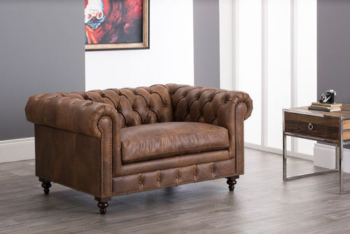 Chesterfield Snuggle Chair-Brown Leather
