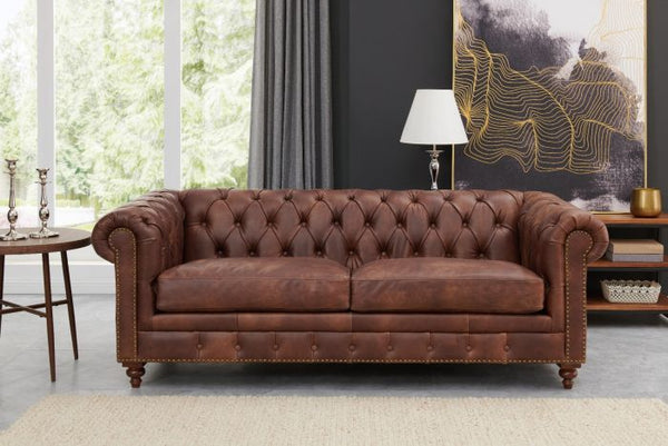 Chesterfield 2 Seater Brown Leather - AR Furnishings - Specialists In Bringing Luxury Into Your Home.
