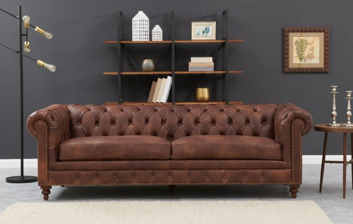 Chesterfield 3 Seater Brown Leather - AR Furnishings - Specialists In Bringing Luxury Into Your Home.