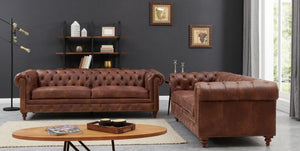 Chesterfield 3 Seater Brown Leather