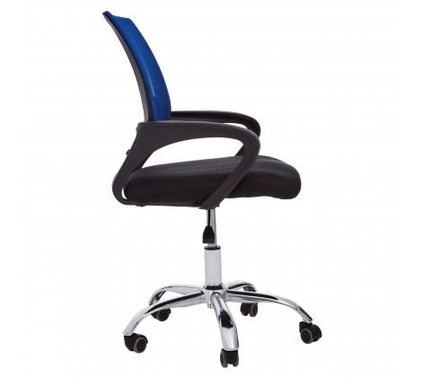 Blue Home Office Chair With Black Arms And 5-Wheeler Base
