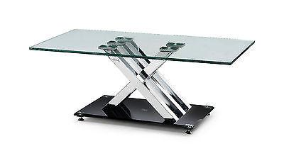X Frame Black Clear Glass Coffee Table Contemporary Modern - ImagineX Furniture & Interiors