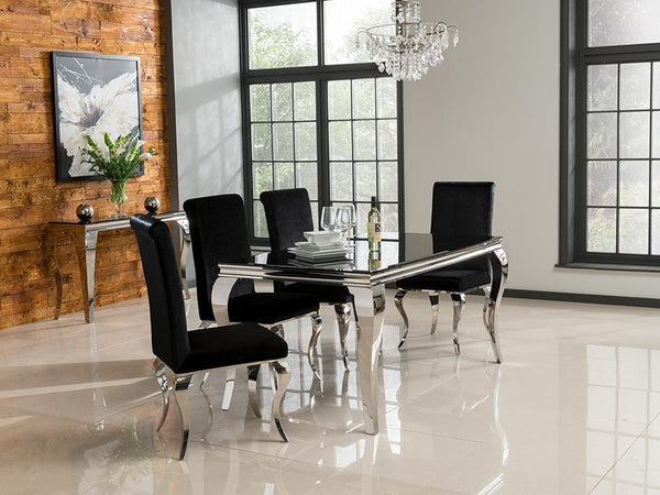 Louis Black Glass 160cm Dining Table + 4 Black Velvet Dining Chairs - AR Furnishings - Specialists In Bringing Luxury Into Your Home.