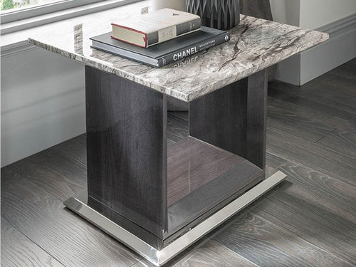 Donatella Grey Marble Lamp Table - ImagineX Furniture & Interiors