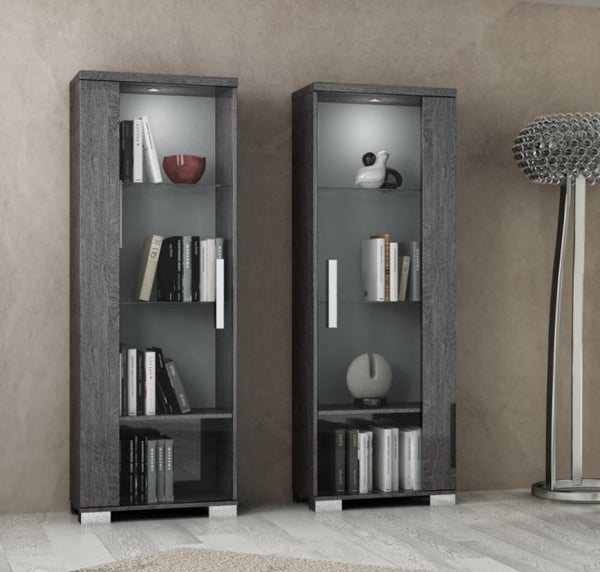 Sarah Grey Birch Italian 1 Door Display Cabinet - AR Furnishings - Specialists In Bringing Luxury Into Your Home.