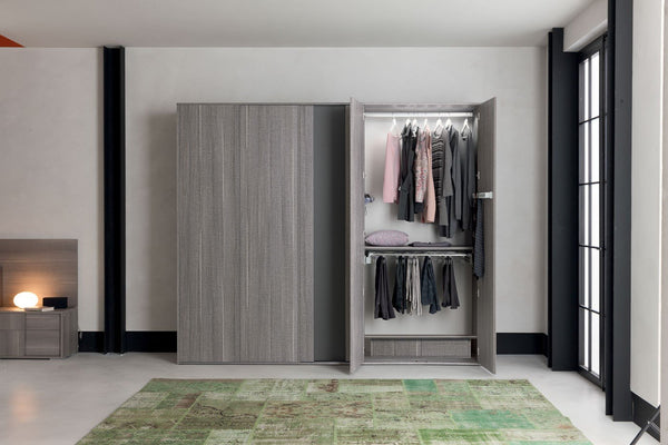 Futura Night Grey Sawmarked Italian Oak Wardrobe - AR Furnishings - Specialists In Bringing Luxury Into Your Home.