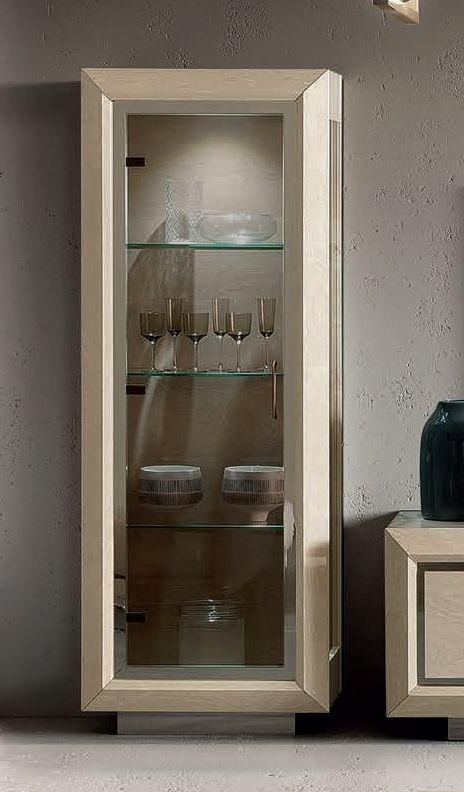 Camel Elite Day Sand Birch High Gloss Italian 1 Door Vitrine
