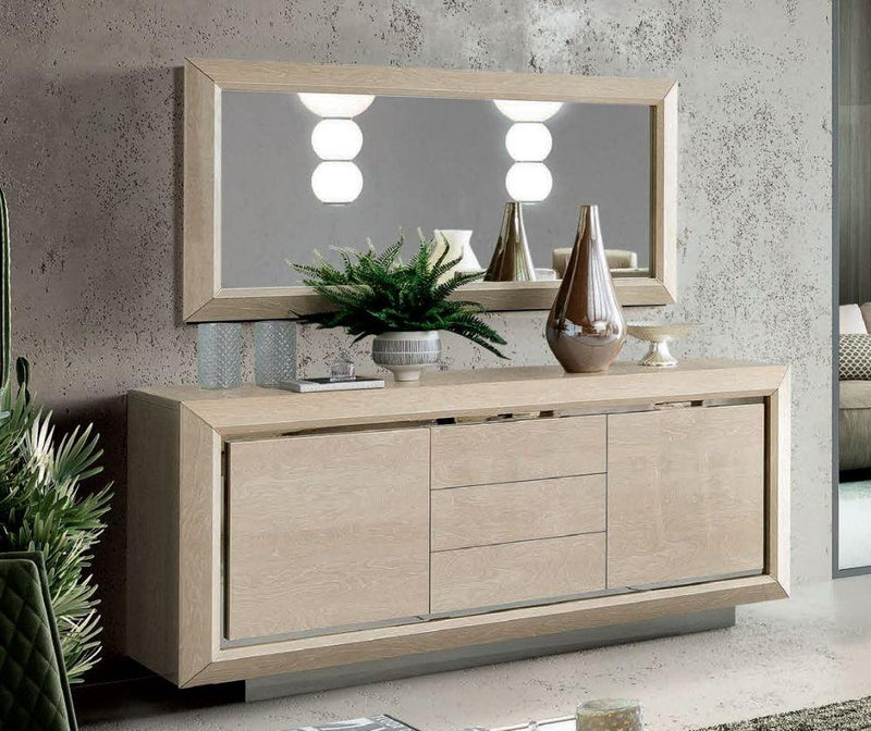 Camel Elite Day Sand Birch High Gloss  Italian Large Buffet Sideboard