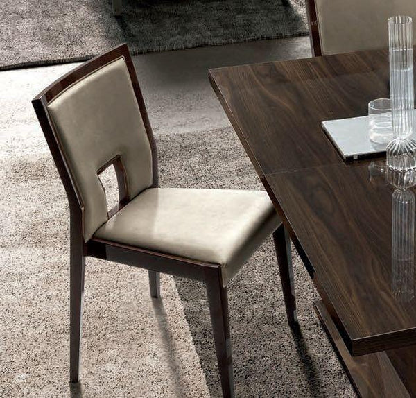Volare Day Walnut Italian Fabric Ambra Dining Chair - AR Furnishings - Specialists In Bringing Luxury Into Your Home.