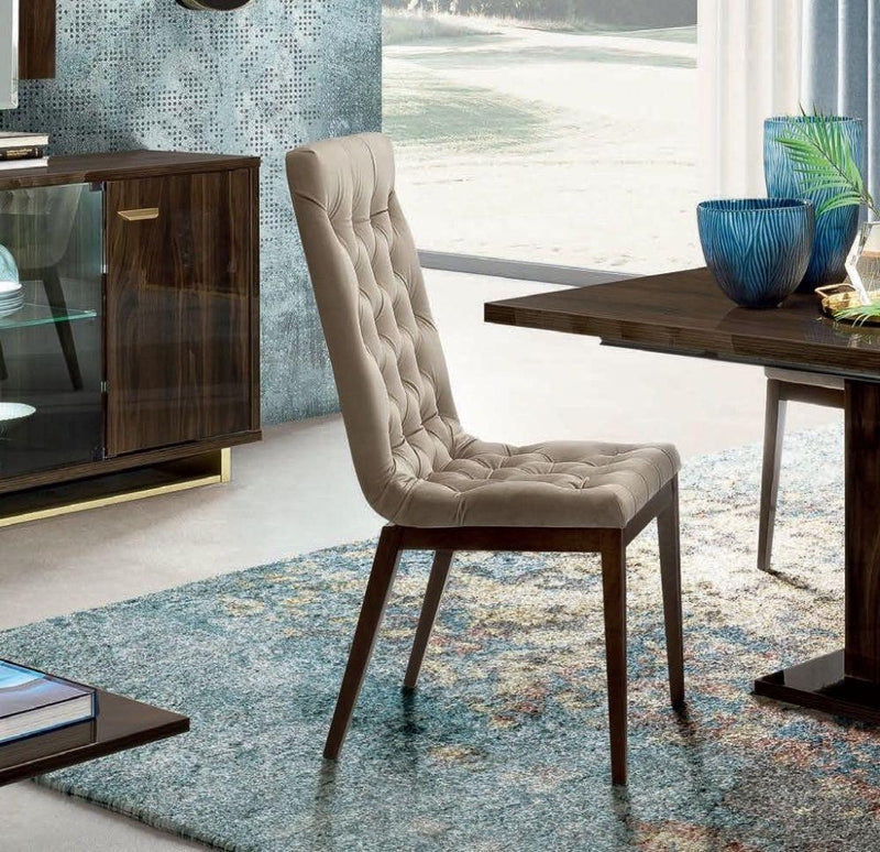 Volare Day Walnut Italian Fabric Capitonne Dining Chair (Set of 2 Chairs) - AR Furnishings - Specialists In Bringing Luxury Into Your Home.