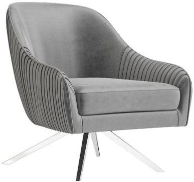Torelli Bianca Silver Grey Velvet and Chrome Lounge Chair