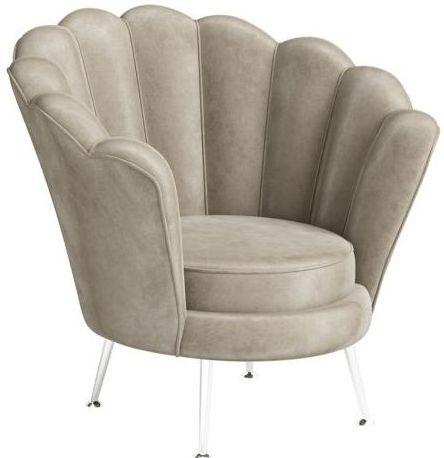 Torelli Erica Mink Velvet and Chrome Lounge Chair