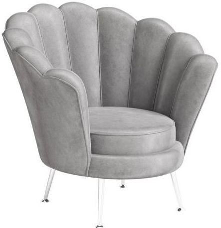 Torelli Erica Silver Grey Velvet and Chrome Lounge Chair