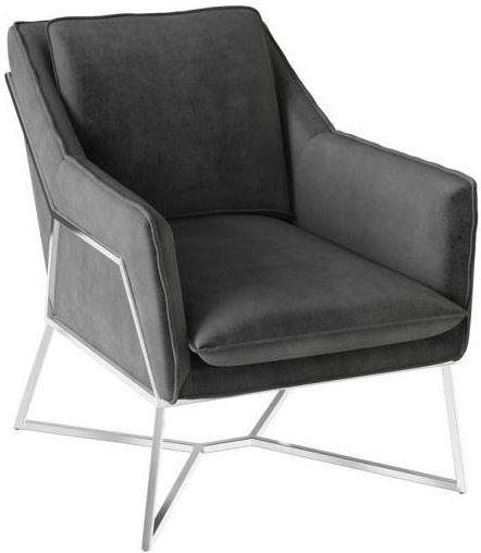 Torelli Lara Dark Grey Velvet and Chrome Lounge Chair