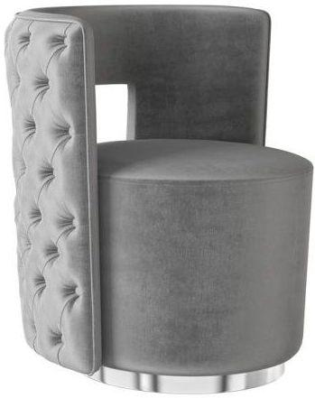 Torelli Tamara Silver Grey Velvet and Chrome Lounge Chair
