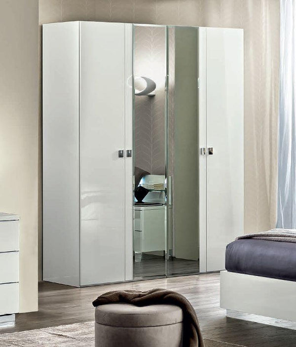 Onda White High Gloss Italian 4 Door Mirror Wardrobe - AR Furnishings - Specialists In Bringing Luxury Into Your Home.