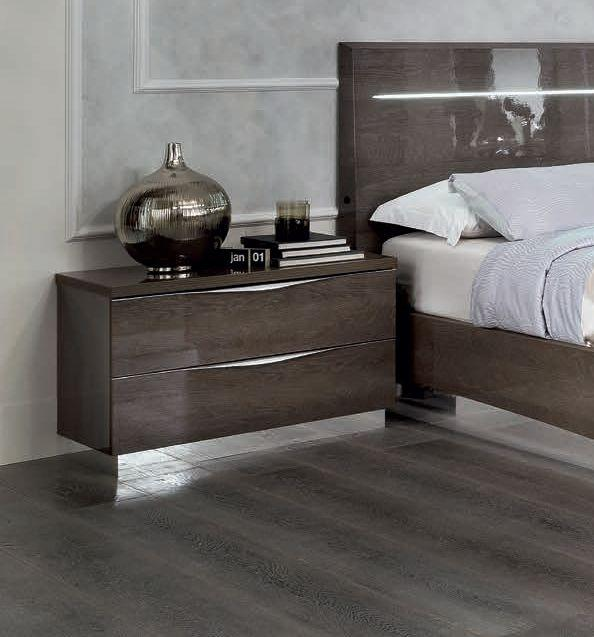 Platinum Night 75cm 2 Drawer High Gloss Maxi Night Table - AR Furnishings - Specialists In Bringing Luxury Into Your Home.